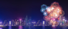 Happy New Year Fireworks Over Cityscape At Night With Empty White Marlbe Table,Banner Mock Up Template For Display Or Montage Of Product For Holiday Promotion Advertising.
