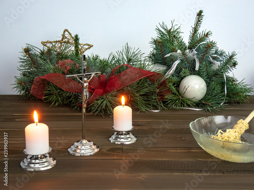 Fototapety, obrazy: Crucifix, candles and holy water prepared for pastoral visit during Christmas