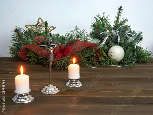 Fototapety, obrazy: Crucifix and candles prepared for pastoral visit during Christmas