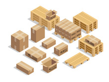 Pallets For Shipment With Cardboard And Isometric Style Design Vector
