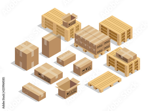 Cuadros en Lienzo pallets for shipment with cardboard and isometric style design vector