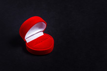 Red Velvet Jewelry Box, Heart Shaped On Black Background