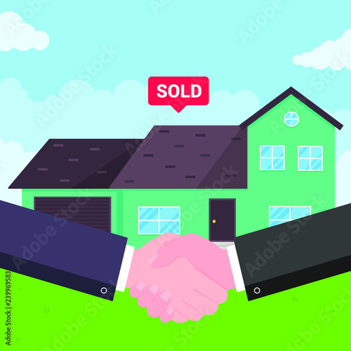 Buying new house on sale  Two hands shaking, big deal agreement flat
