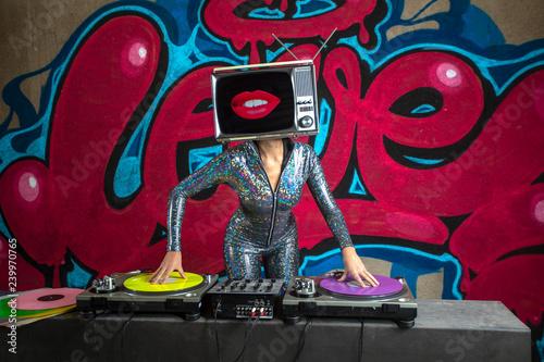 tv head woman and graffiti wall dj