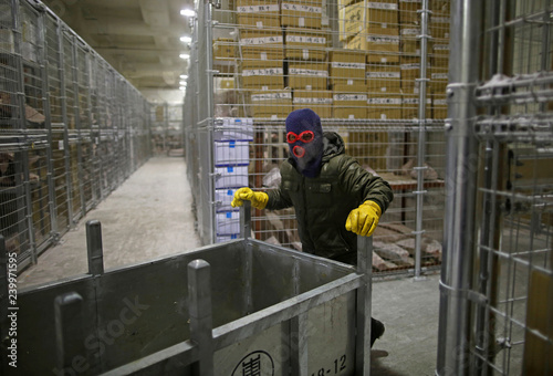 A man works inside a cold storage warehouse at Toyosu Fish Market in
