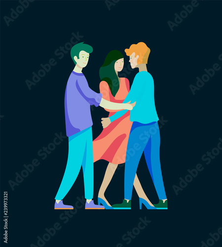 Fototapety, obrazy: Vector people character. Friends and couple hugging, walking and spend time tygether. Colorful flat concept illustration.