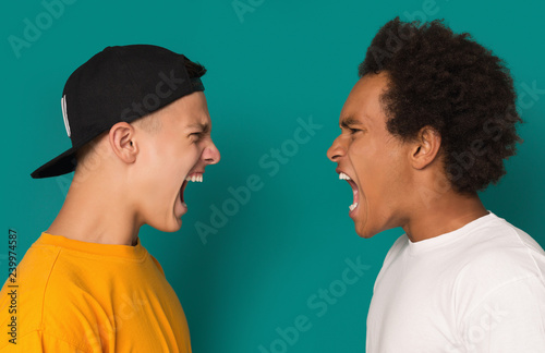 Fotografie, Tablou  Two angry teens shouting at each other