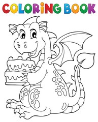 Coloring book dragon holding cake 1