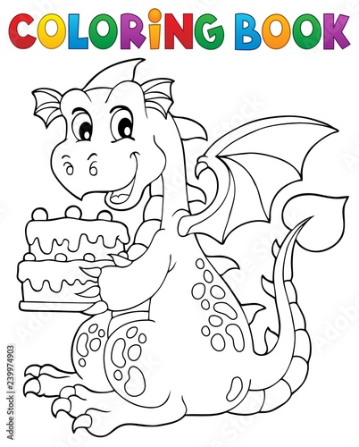 Door stickers For Kids Coloring book dragon holding cake 1