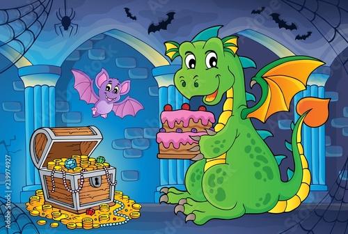 Dragon holding cake theme image 2