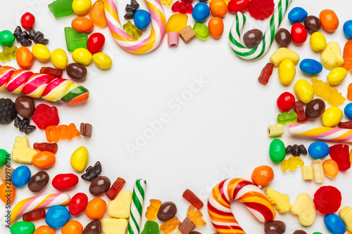 Poster Confiserie Frame of colorful bright assorted candy
