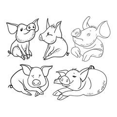 Set of linear drawings, funny pig, new year's design, cartoon hero