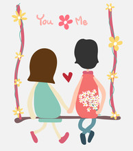 Vector Couple Sit On Swing Holding Hand And Flower