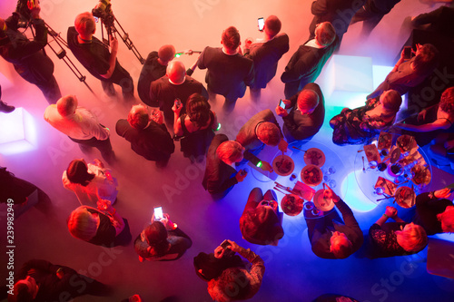 Party and corporate concept. People at the tables, top view. Fototapete
