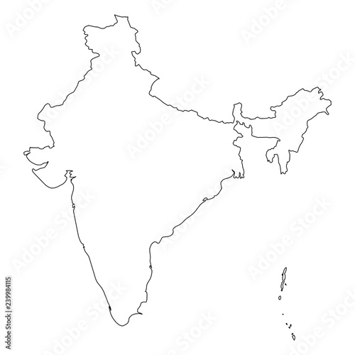 India - solid black outline border map of country area. Simple flat on simple myanmar map, simple maine map, simple mali map, simple africa map, simple spain map, simple south asia map, simple denmark map, simple okinawa map, simple guam map, simple colombia map, simple market map, simple carribbean map, simple inuit map, simple austria map, simple connecticut map, simple world map, simple dubai map, simple bolivia map, simple mediterranean map, simple russian federation map,
