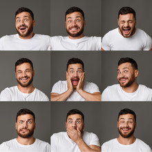 Collage Of Young Man Expressio...
