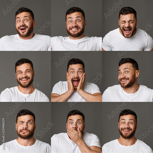 Carta da parati Collage of young man expressions and emotions