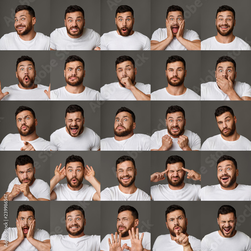 Photo Collage of young man expressions and emotions