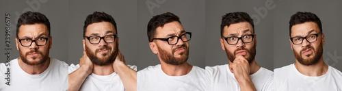 Canvastavla Collage of young man in glasses facial expressions
