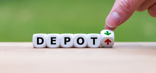 Hand Is Turning A Dice And Changes The Direction Of An Arrow Symbolizing That The Value Of A Depot Is Going Up (or Vice Versa)