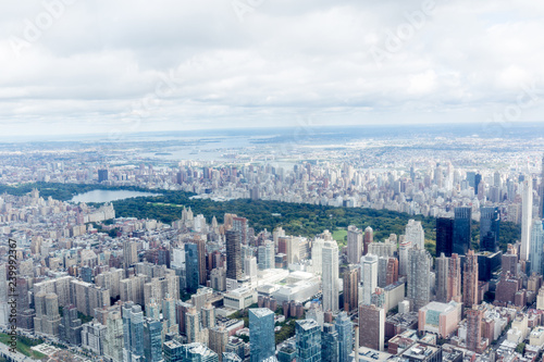 aerial view of new york city skyscrapers and cloudy sky, usa