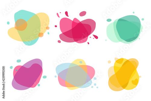 Fototapeta Abstract colorful shape vector flat set isolated on white background. obraz na płótnie