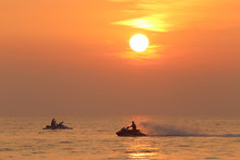 Jet Skiing In The Evening In The Bay Of Bengal In The Vicinity Of Pattaya