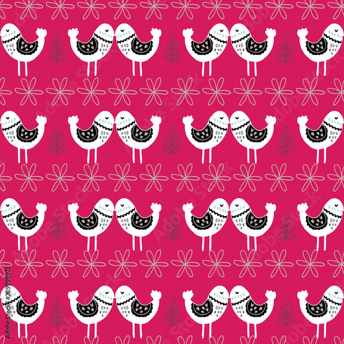 Pink Scandinavian Love Birds Pattern Design Perfect For Fabric Wallpaper Stationery And Scrapbooking Projects And Other Crafts And Digital Work Buy This Stock Vector And Explore Similar Vectors At Adobe Stock