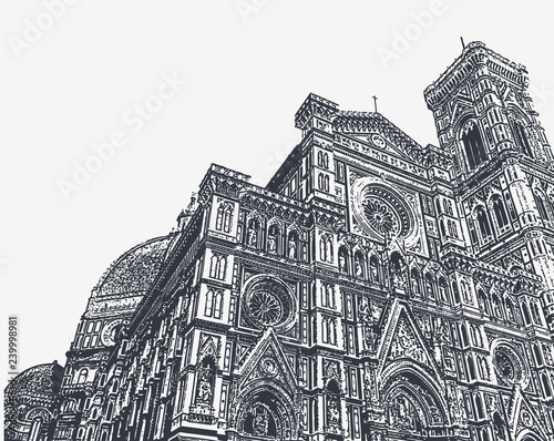 Fototapeta Fragments of the Cathedral of Santa Maria del Fiore and the Giotto bell tower in