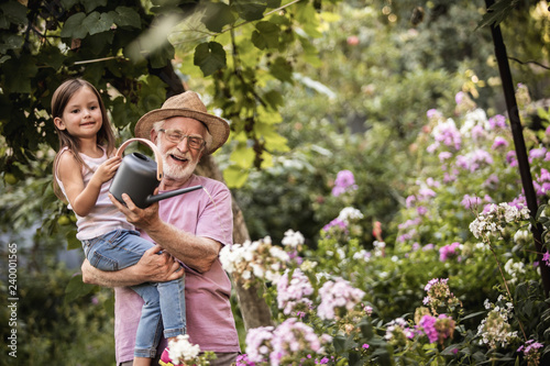 Fotografia, Obraz  Grandfather and graddaughter taking care of flower bed