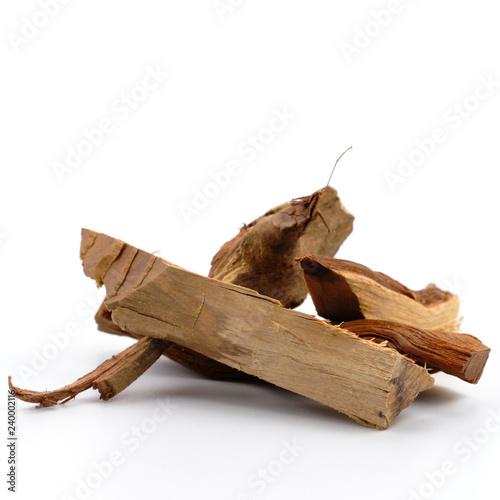 Fényképezés  Fragrant Wood chips on white background.