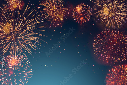 Fototapeta abstract fireworks background and space for text