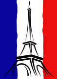 Fototapeta Fototapety z wieżą Eiffla - Abstract logo or sign for France, Paris and Eiffel Tower.