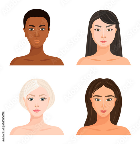 Female Faces Of Different Races Set Of Vector Avatars
