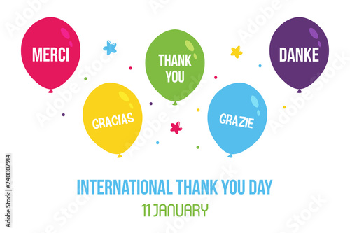 Valokuva  International thank you day illustration, card with cute colorful balloons with words of appreciation in different languages