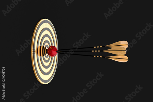 Foto  three arrows piercing an apple at a golden target on a black background