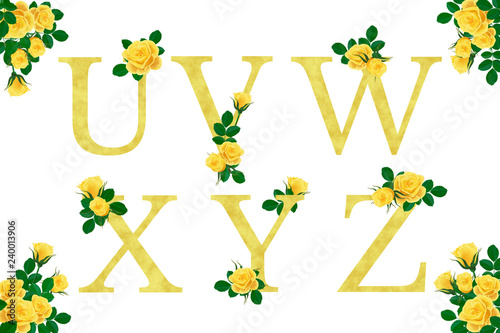 Bright yellow roses letter alphabet  Isolated Golden