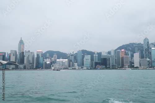 Photo  Victoria Harbour HK skyline cityscape downtown