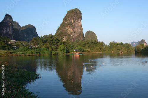 Canvas Prints Guilin Karst mountains and limestone peaks of Yulong River, Yangshuo, Guilin, China