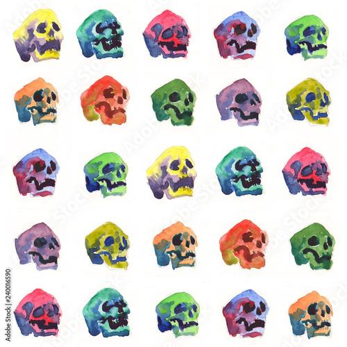 Foto auf AluDibond Aquarell Schädel skull watercolor