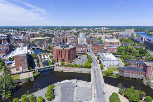 Valokuva  Lowell historic downtown and Concord River aerial view in Lowell, Massachusetts, USA