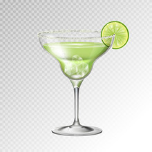 Realistic Cocktail Margarita Glass Vector Illustration On Transparent Background