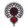 Polski folklor - ciemna parzenica, czarno-czerwony wzór