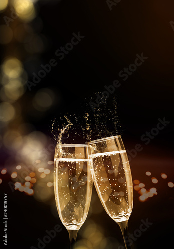 Fotografía Sparkling wine, champagne, glasses, New Year's Eve, Cheers New Year
