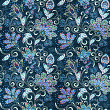 Denim Seamless Pattern. Denim Floral Background. Blue Jeans Cloth. Jeans Background Hand Draw Paisley Flowers