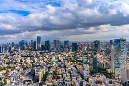 Cuadros en Lienzo  Aerial view old city of Tel Aviv and Jaffa over Mediterranean sea