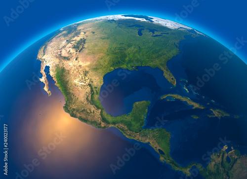 Mappa fisica del mondo, vista satellitare dell'America centrale. Globo. Emisfero. Rilievi e oceani. Rendering 3D