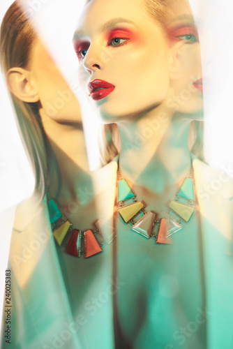 Deurstickers womenART Sexy lady in colorful neacklace and white jacket