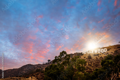 Fotografie, Obraz  signe HOLLYWOOD au crépuscule