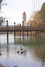 Clock Tower Overlooking The Spokane River